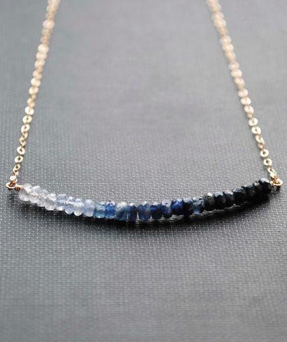 blue ombre sapphire necklace