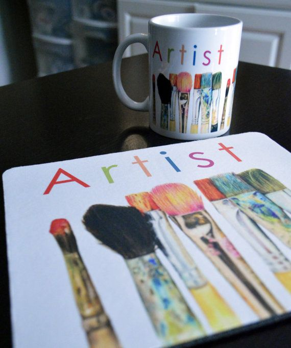 Mouse Pad Coffee Mug Comb Gift Set Artist Original Art Print of Paint Brushes ACEO
