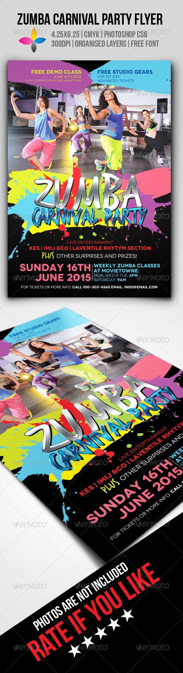 Zumba flyer design zumba flyers - Zumba Fitness Carnival Party Flyer