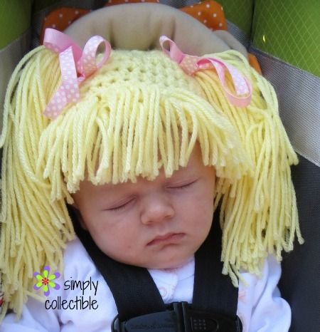Cabbage Patch Knit Hat With Fringe And Pigtails Pattern : 2955 best images about Needle point 5 on Pinterest
