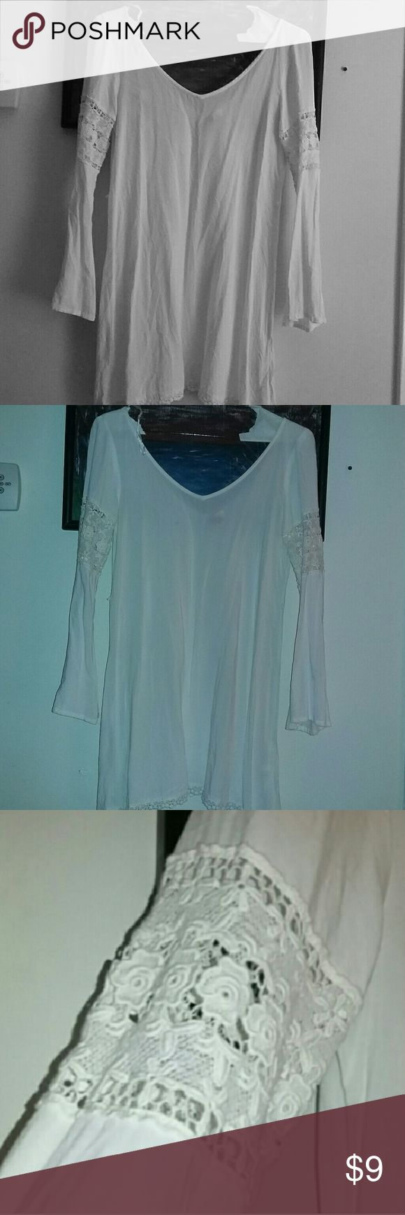 Bell sleeve dress White see thru dress can be worn with a slip under or as a bikini  cover up H&M Dresses Long Sleeve