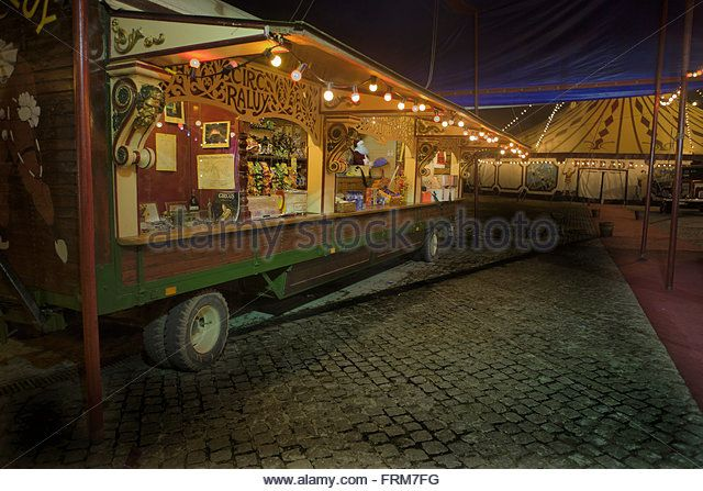 BARCELONA - JANUARY 2: View of the circus facilities before the new spectacle of Raluy Circus, on January 1, 2011 in Barcelona, - Stock Image