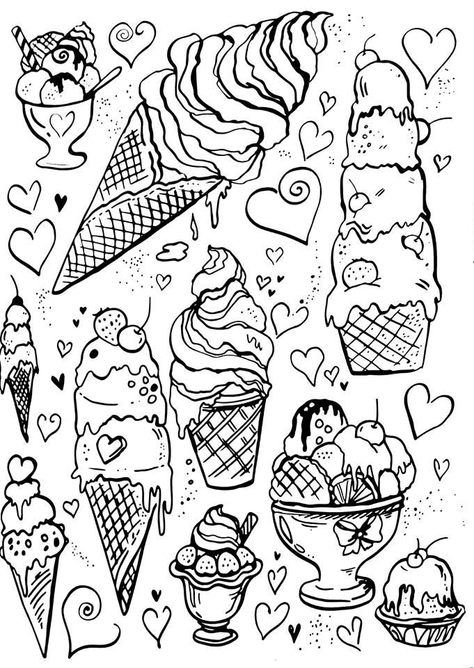 Livro de Colorir Arteterapia Criativa - Adult Coloring pages ice cream