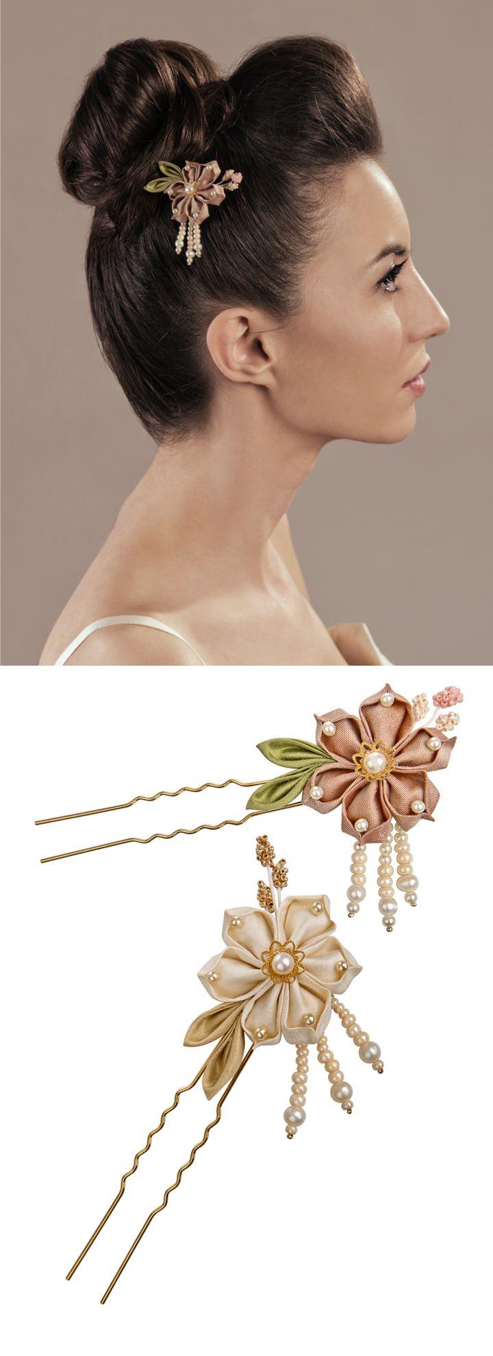 bridal or bridesmaids silk Kanzashi hair adornments/ bridal updo hairstyle