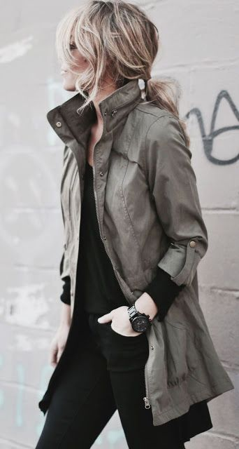 Black fashion outfit with messy hair and military khaki jacket. Love the black pants and shirt.