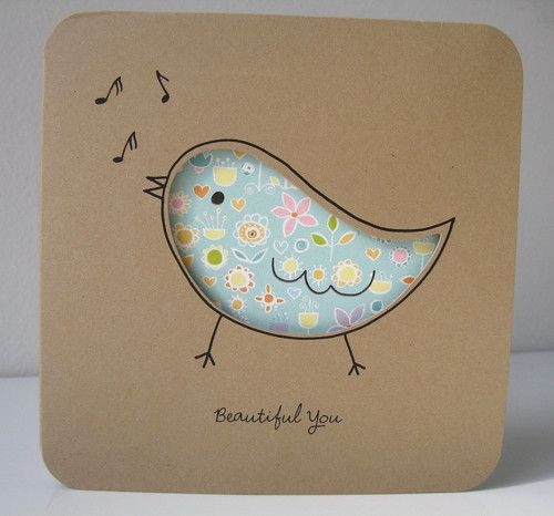 bird cut out card :) on kraft