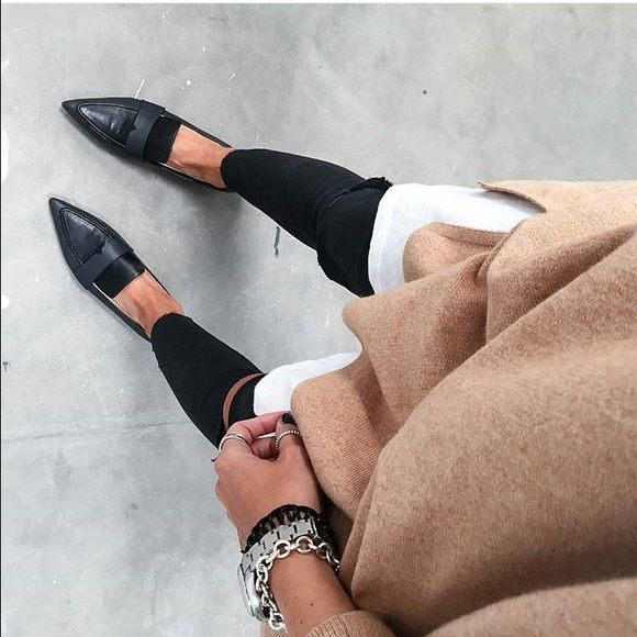 Pointy toe loafers Black pointy toe loafers. Mango Shoes Flats & Loafers