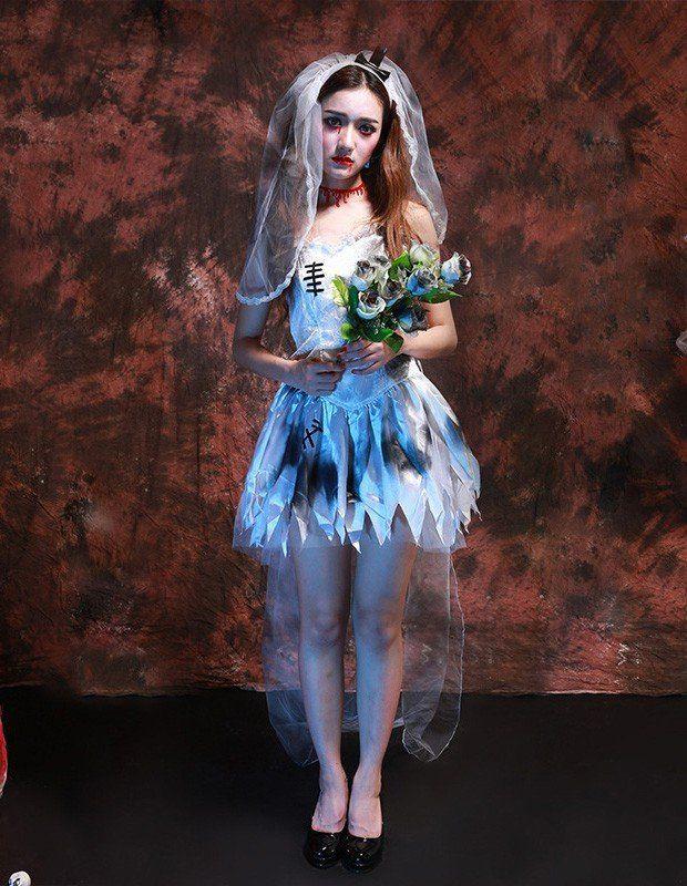Classical Corpse Bride Fancy Dress Womens Halloween Costume