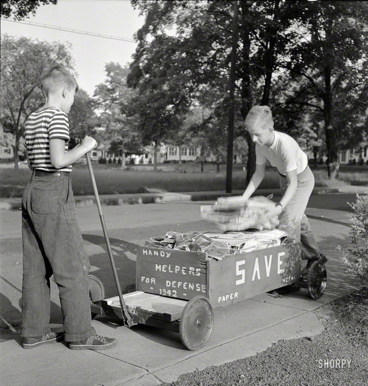"""May 1942. Southington, Connecticut. """"Boys collecting paper and metal for scrap drive."""" Photo by Fenno Jacobs for the Office of War Information.  Shorpy Historic Picture Archive :: Handy Helpers: 1942 high-resolution photo"""