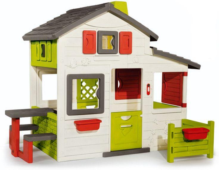 Smoby Lekstuga Friends House är en rolig och stor lekstuga som erbjuder flera lek- och gömställen, bland annat en hemlig dörr, trädgård, hus och picknickbord. I den här fina lekstugan kan flera barn leka tillsammans riktigt länge! Huset är utrustat med två små dörrar, varav en är på baksidan. Lekhuset har även en hemlig väg samt två luckor som är svängbara i 360°, vilket gör att man kan stänga och öppna fönstret från alla håll. Det ingår dessutom ett avtagbart picknickbord med två bänkar som…