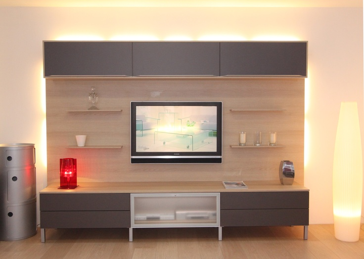 meuble tv fabrimeuble chne naturel et graphite - Meuble Tv Living Blanc Laque For You