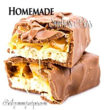 Homemade Snickers Bars Recipe http://www.bestyummyrecipes.com/homemade-snickers-bars-recipe/