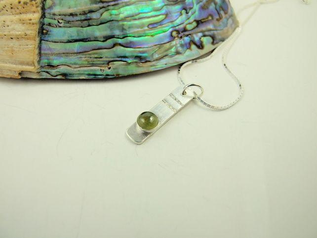 Idocrase, Vesuvianite Necklace, Sterling Silver Ingot Green Gemstone £38.00