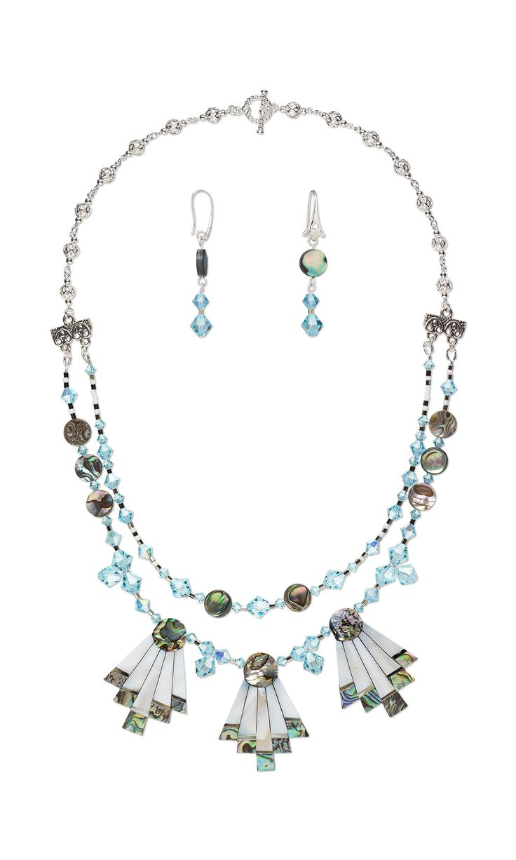 jewelry design double strand necklace and earring set with preciosa czech crystal beads