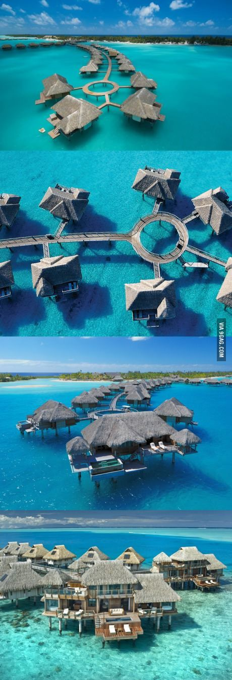 This is what the Four Seasons Hotel looks like in Bora Bora.