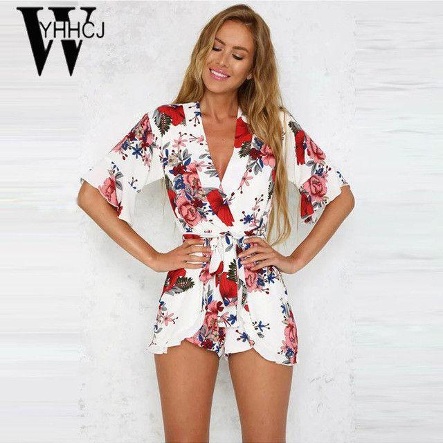 WYHHCJ 2017 Strapless v-neck bodysuit women elegant flowers rompers womens jumpsuit combinaison femme One Piece beach playsuit