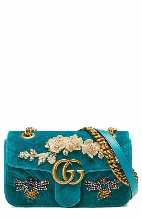 fae124e8dde9 Gucci Mini GG Marmont Matelassé Velvet Shoulder Bag   Want ...