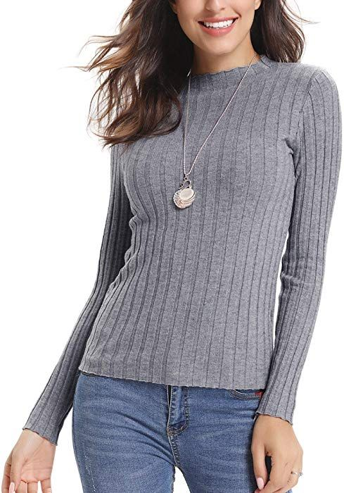 Abollria Women s Long Sleeve Solid Lightweight Soft Knit Mock Turtleneck  Sweater Tops Pullover at Amazon Women s Clothing store  777a2b4a4