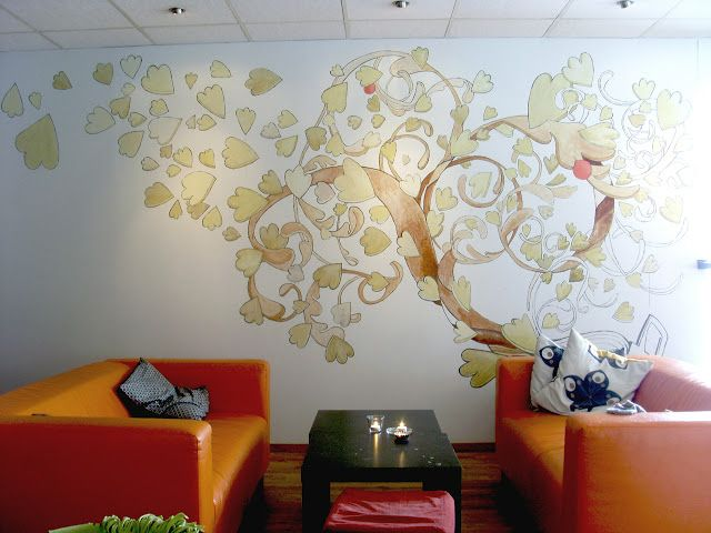 Café UNO´s family-tree mural: Everyone visiting the café can put their name on the family tree.