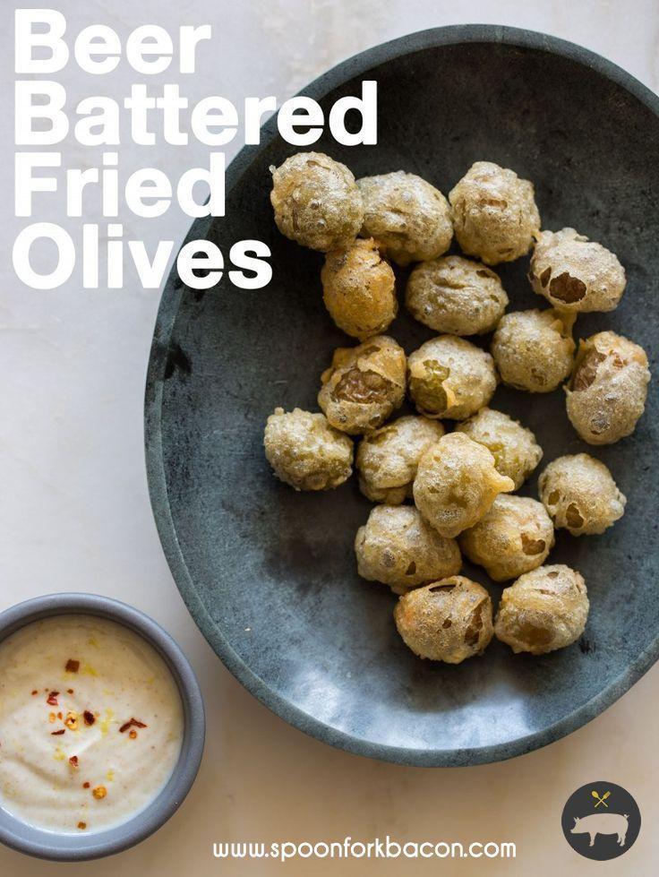 Beer Battered Fried Olives   Recipe   Beer, Olives and Forks