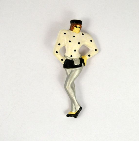 1980s Preppy Girl Pin/Brooch by KrisVintageClothing on Etsy