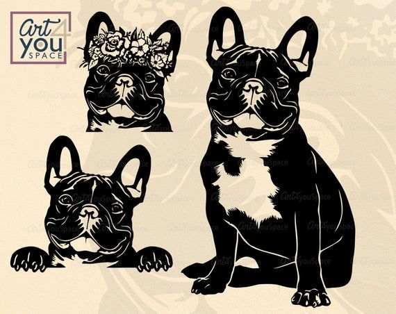 French Bulldog Svg Frenchie With Flowers Clipart Dog Svg Etsy In 2020 Bulldog French Bulldog Black French Bulldogs