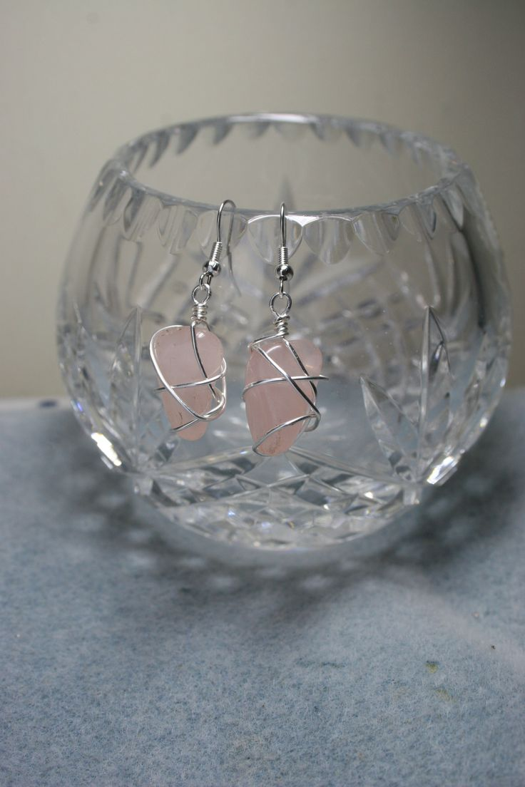 Wire wrapped rose quartz earrings  €5.00  www.facebook.com/Supposejewellery