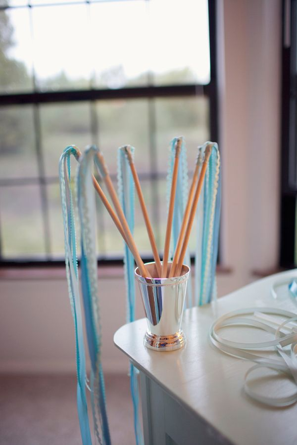 DIY ribbon wands. You could possibly write your names and wedding date on the end of the wand...