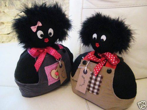 Handmade Cute Golly Girl and Boy Gollywog Golliwog Doorstop Set Pre-Filled BN   eBay