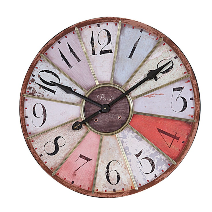 Multicolor Round Wood Clock With Metal Trim