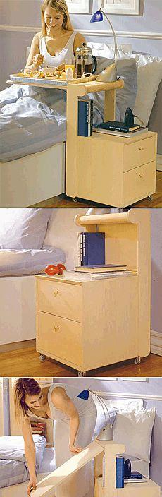 Прикроватная тумбочка с откидным подносом - мастер-класс.  В сложенном состоянии тумбочка имеет компактный вид,  и позволяет,  при необходимости, легко воспользоваться откидной подставкой для подноса.