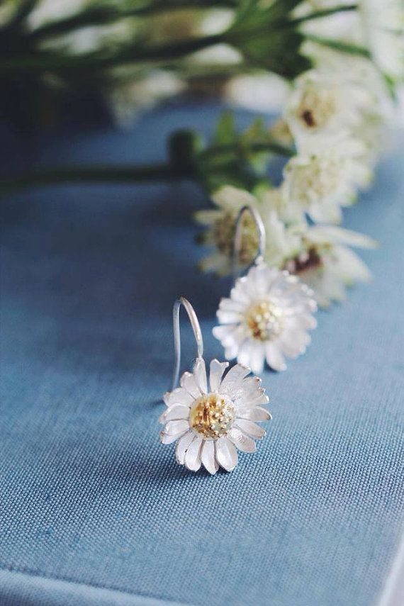 Sterling silver daisy earrings with gold plating by TheManerovs