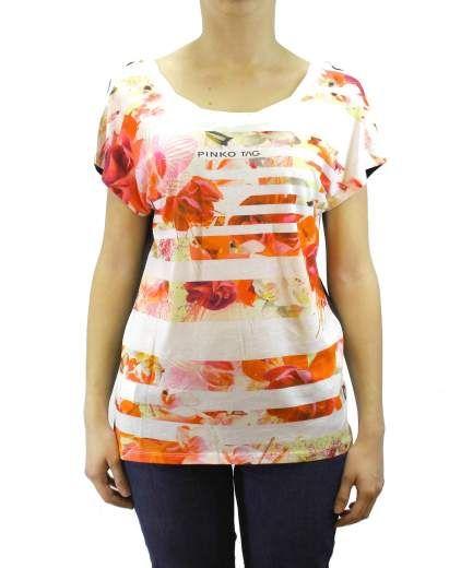 T-shirt RAIL ROAD. Linea PINKO TAG. T-shirt manica corta con stampa maxi fiori.