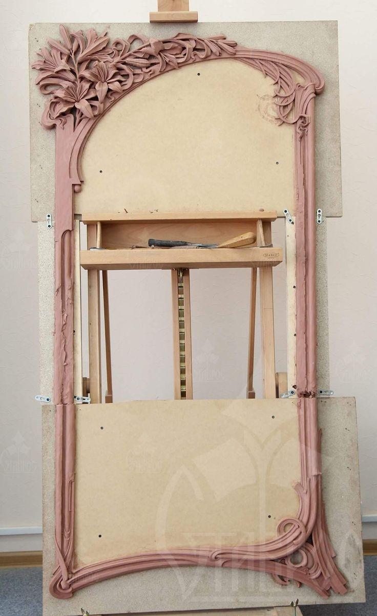 "Отлепленная модель рамы в стиле Модерн ""Лилии"". #скульптура #лепка #рама #модель #Модерн #искусство Sculptured model of frame in Modern style ""Lily"". #sculpture #frame #model #art #modern #work"