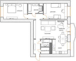 Эклектичная квартира в новостройке, 95 м² | admagazine