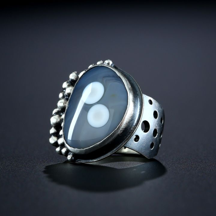 Metalsmiths Amy Buettner & Tucker Glasow. Botswana Agate Ring. Fabricated Sterling Silver. www.amybuettner.com
