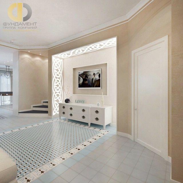 Дизайн интерьера гостиной загородного дома в стиле современный прованс