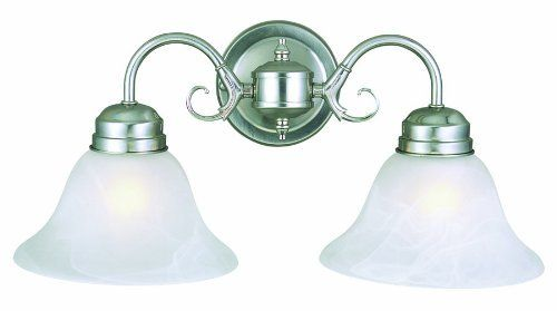 Design House 511600 Millbridge 2-Light Wall Mount, 9-Inch by 17.75-Inch, Satin Nickel by Design House. $30.30. From the Manufacturer                The Millbridge Collection is simple and affordable. The satin nickel finish is popular with today's trends. Available in a variety of styles to meet your needs.                                    Product Description                Finish:Satin Nickel, Glass:Alabaster, Light Bulb:(2)60w A19 Med F Incand  The Millbridge collection ...
