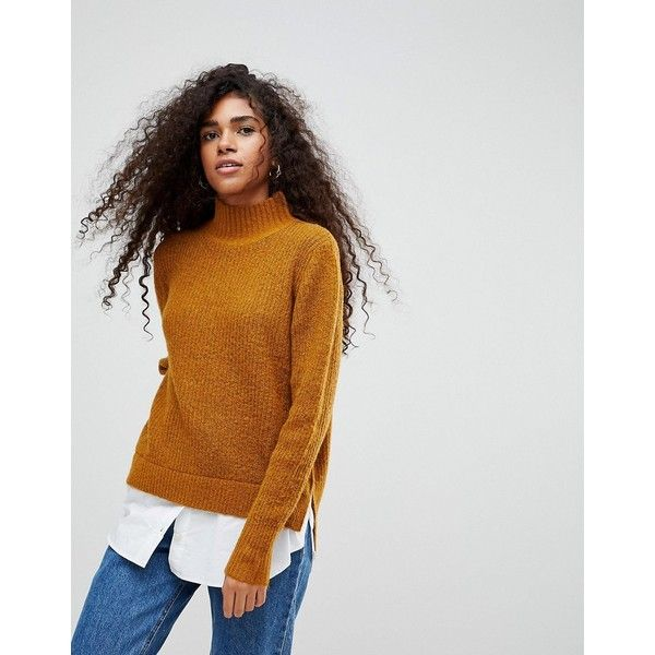 b.Young High Neck Jumper ($49) ❤ liked on Polyvore featuring tops, sweaters, brown, long sleeve tops, long sleeve jumper, high neck sweater, ribbed sweater and high neck long sleeve top