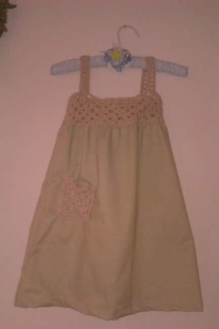 Beige cotton dress with crochet pocket & top (+- 3yr old)