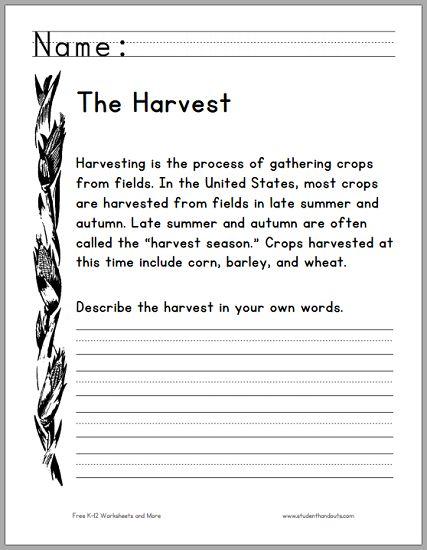 harvest season primary worksheet free to print pdf primary grades pinterest harvest. Black Bedroom Furniture Sets. Home Design Ideas