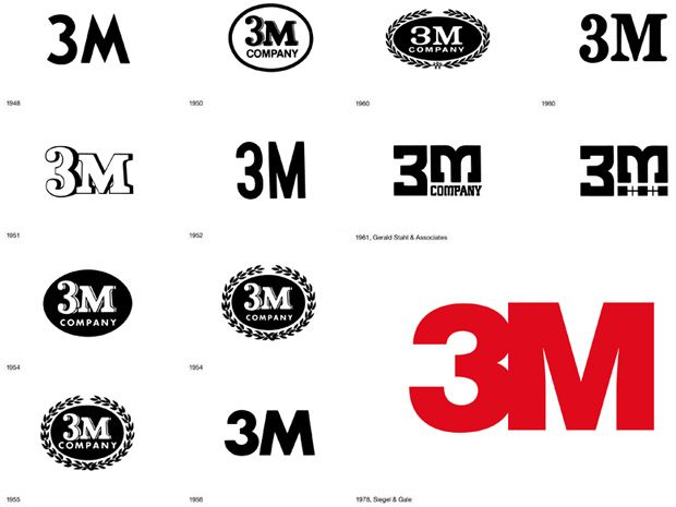 The Visual Evolution of the 3M Logo (from the book Logo Life: Life Histories of 100 Famous Logos)