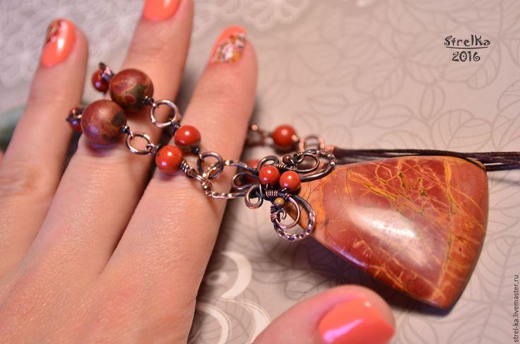 Купить Колье Мир Яшмы - 3 - подарок, медная свадьба, медные украшения, коричневый