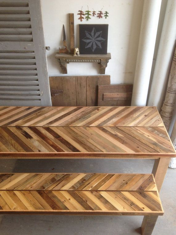reclaimed pallet and barn wood kitchen table with matching bench chevron dining - Barnwood Kitchen Table