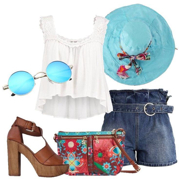 Un outfit che riprende il mood '70: short in jeans a vita alta, chiuso con cerniera, cintura con fibbia, abbinato a camicetta bianca, scollo tondo, inserto all'uncinetto, più corta sul davanti. Sandalo marrone in pelle, tacco squadrato, plateau, tracolla rossa in fantasia, splendido cappello a tesa larga in tessuto azzurro con fiocco, reversibile in fantasia floreale, occhiali tondi in metallo, lenti azzurre.