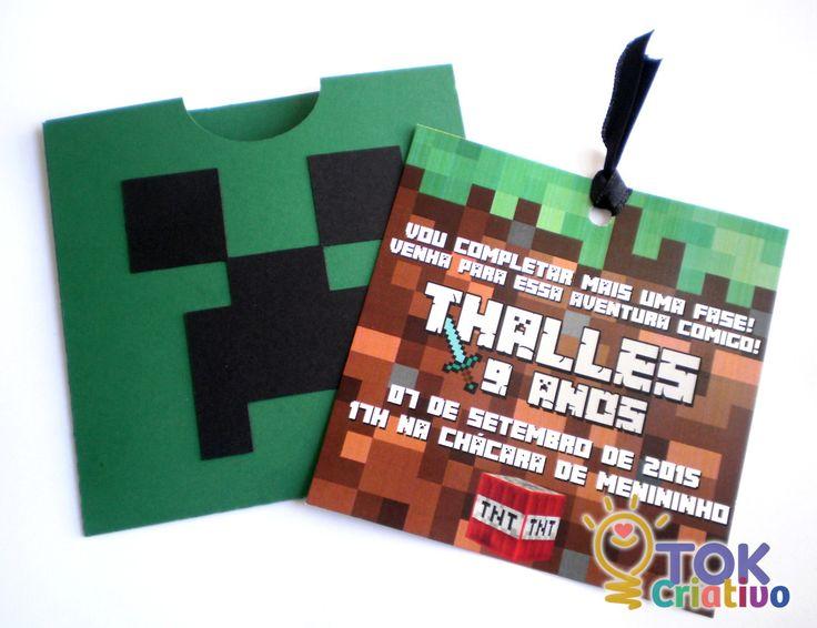Convite Minecraft em envelope scrap    Medidas do convite: 10x10cm