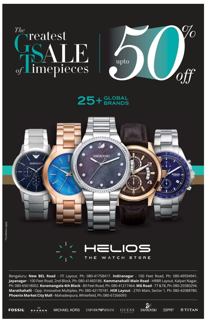 Helios Watch Store Ad Bangalore Times Check Out More Watches Advertisement Collection At Https Www Advertgalle Store Ads Promotional Design Watch Design