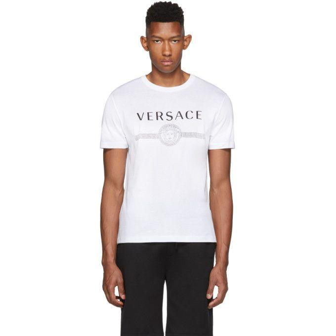 Versace White Medusa Logo T Shirt In 2020 Versace T Shirt Versace Shirts