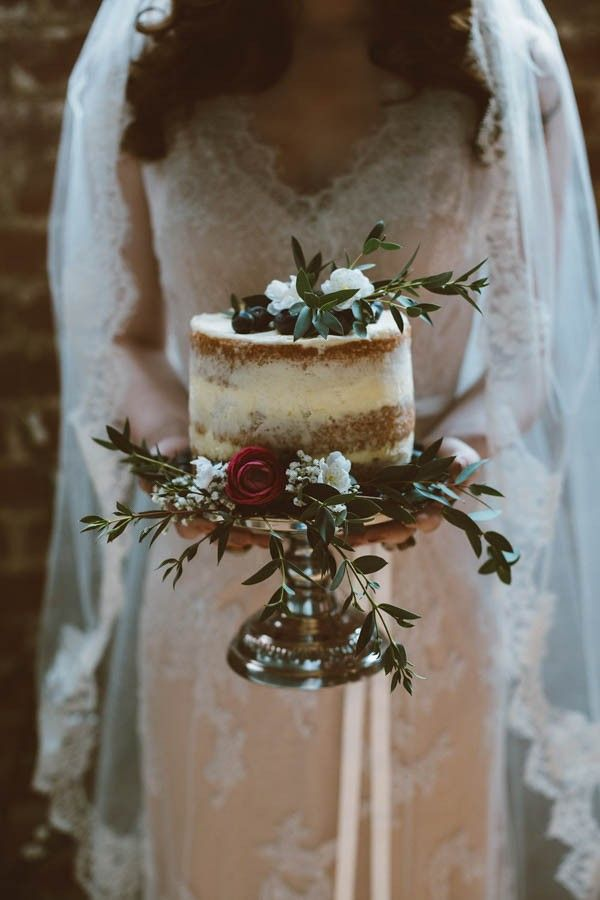 Small naked cake on silver cake stand | Sue-Slique Photography