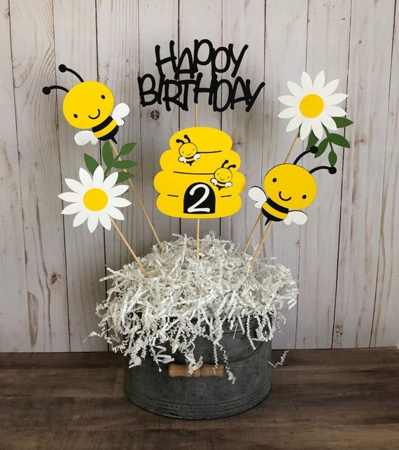 Happy Birthday Bees and Flowers Banner Party Decoration